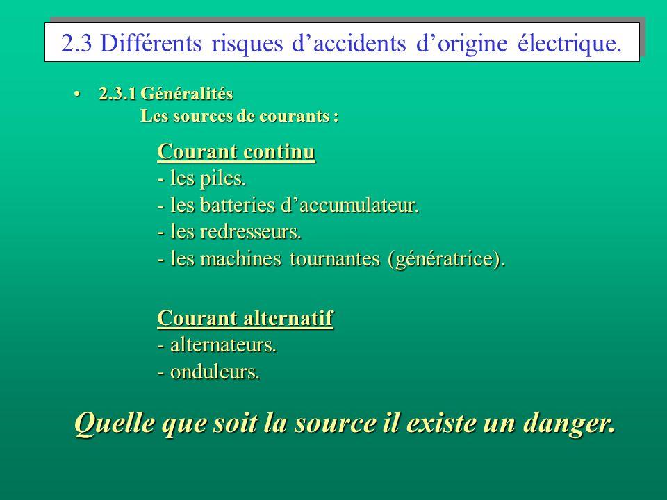 2.3 Différents risques daccidents dorigine électrique.