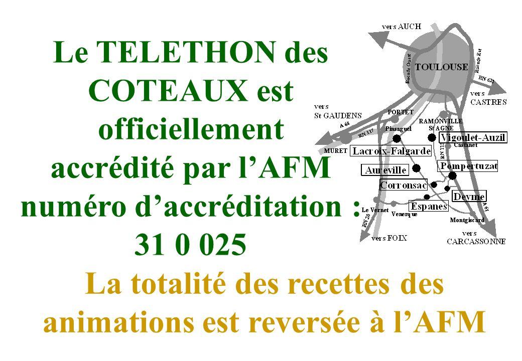 Le TELETHON des COTEAUX est officiellement accrédité par lAFM numéro daccréditation : 31 0 025 La totalité des recettes des animations est reversée à lAFM