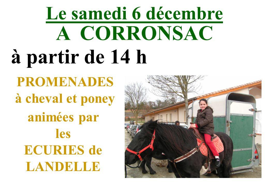 Le samedi 6 décembre A CORRONSAC à partir de 14 h PROMENADES à cheval et poney animées par les ECURIES de LANDELLE