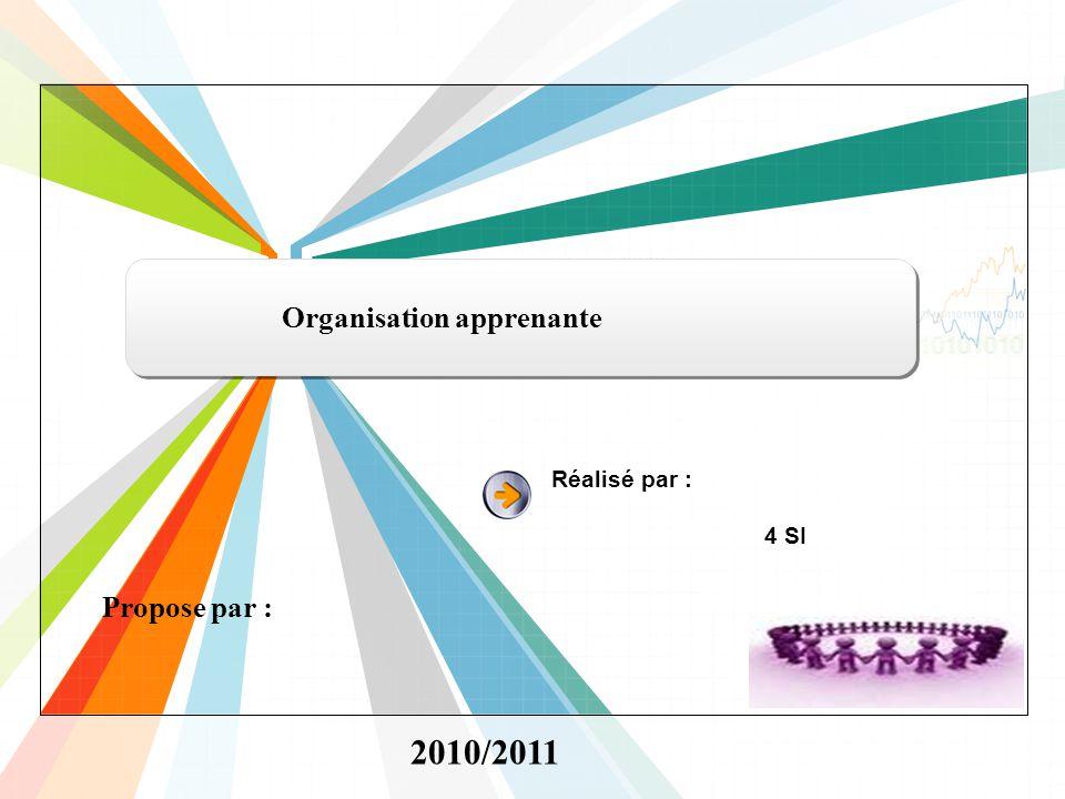 L/O/G/O www.themegallery.com Propose par : Organisation apprenante Réalisé par : 4 SI 2010/2011