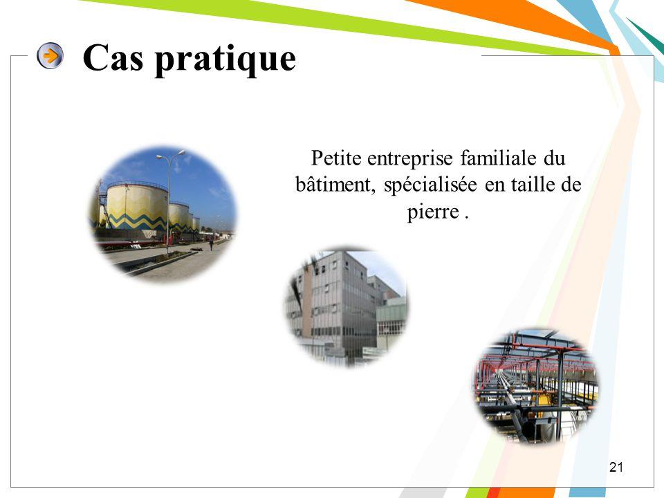 Cas pratique 21 Petite entreprise familiale du bâtiment, spécialisée en taille de pierre.