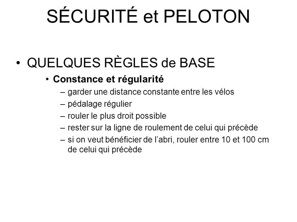 SÉCURITÉ et PELOTON QUELQUES RÈGLES de BASE Constance et régularité –garder une distance constante entre les vélos –pédalage régulier –rouler le plus