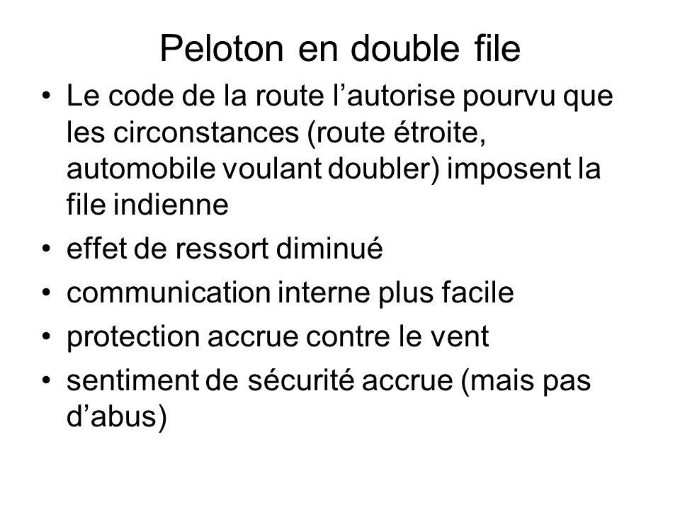Peloton en double file Le code de la route lautorise pourvu que les circonstances (route étroite, automobile voulant doubler) imposent la file indienn