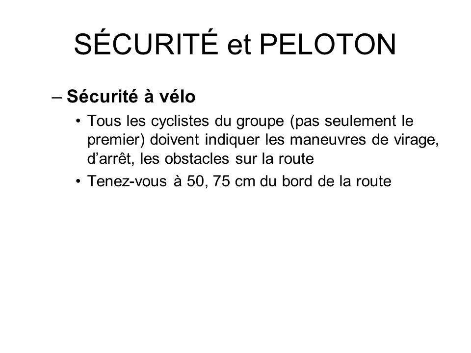 SÉCURITÉ et PELOTON –Sécurité à vélo Tous les cyclistes du groupe (pas seulement le premier) doivent indiquer les maneuvres de virage, darrêt, les obs