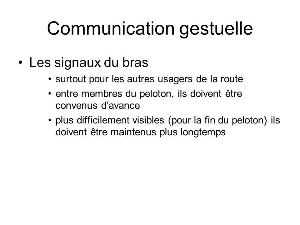 Communication gestuelle Les signaux du bras surtout pour les autres usagers de la route entre membres du peloton, ils doivent être convenus davance pl