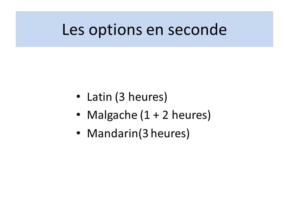 Les options en seconde Latin (3 heures) Malgache (1 + 2 heures) Mandarin(3 heures)