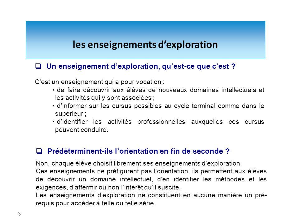 3 les enseignements dexploration Un enseignement dexploration, quest-ce que cest ? Cest un enseignement qui a pour vocation : de faire découvrir aux é