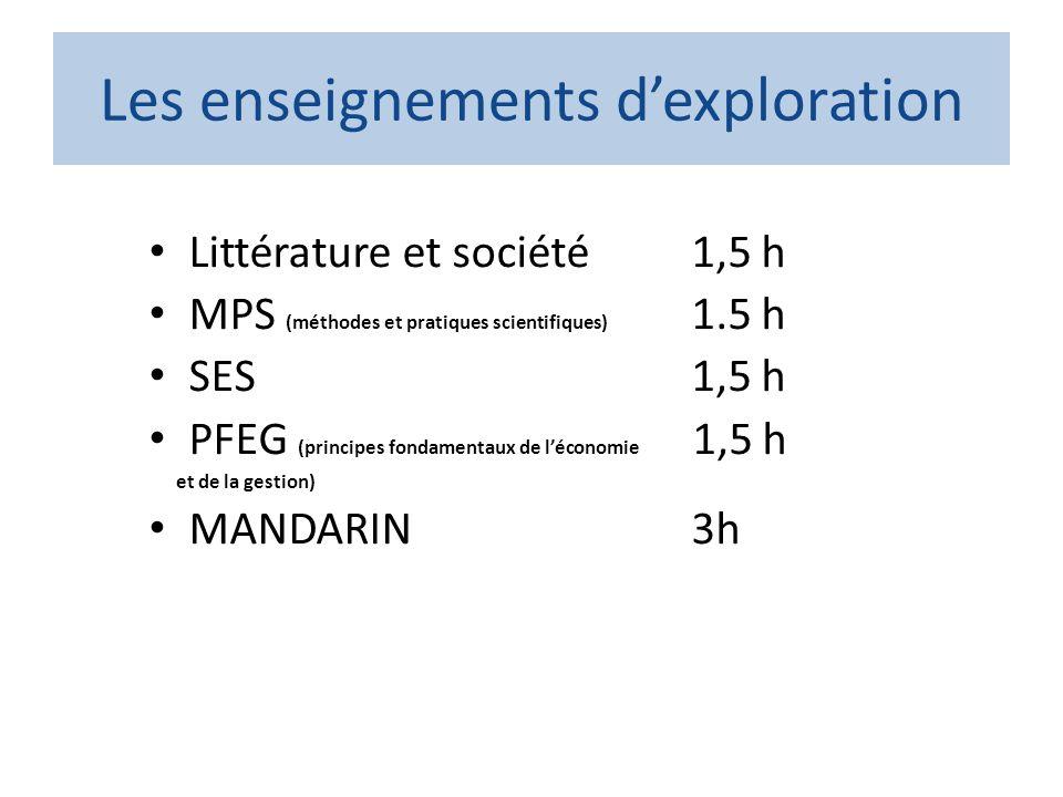 Les enseignements dexploration Littérature et société 1,5 h MPS (méthodes et pratiques scientifiques) 1.5 h SES 1,5 h PFEG (principes fondamentaux de