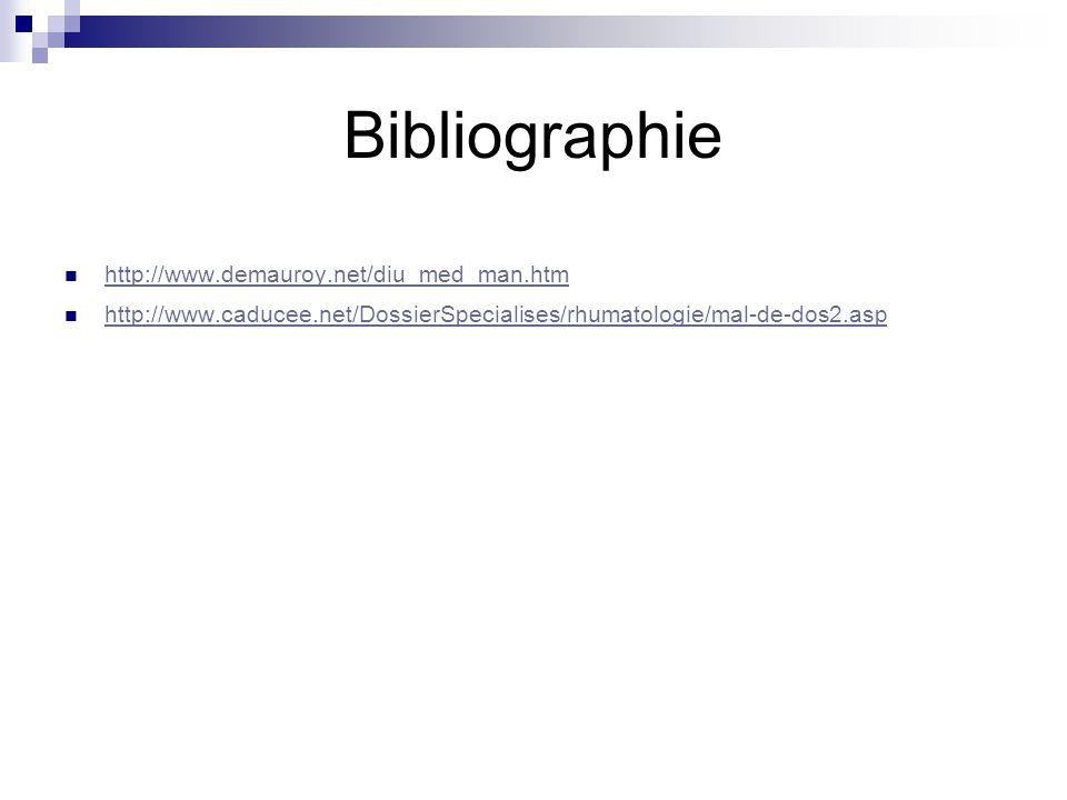 Bibliographie http://www.demauroy.net/diu_med_man.htm http://www.caducee.net/DossierSpecialises/rhumatologie/mal-de-dos2.asp