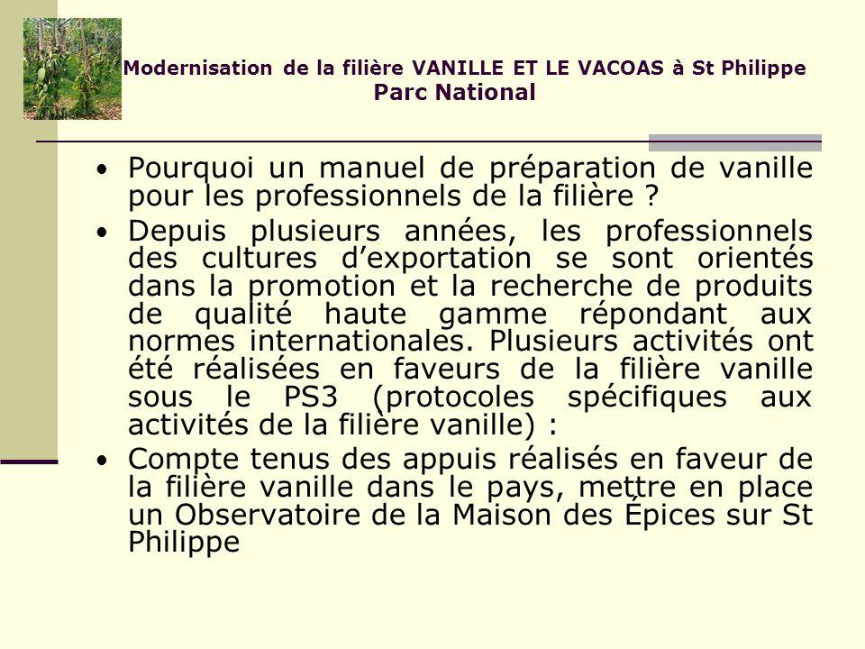 Modernisation de la filière VANILLE ET LE VACOAS à St Philippe Parc National Pourquoi un manuel de préparation de vanille pour les professionnels de la filière .