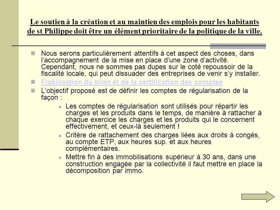 Le soutien à la création et au maintien des emplois pour les habitants de st Philippe doit être un élément prioritaire de la politique de la ville.
