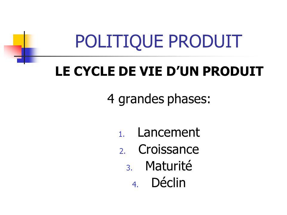 POLITIQUE PRODUIT LE CYCLE DE VIE DUN PRODUIT 4 grandes phases: 1. Lancement 2. Croissance 3. Maturité 4. Déclin