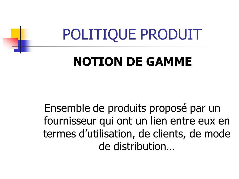 POLITIQUE PRODUIT NOTION DE GAMME Ensemble de produits proposé par un fournisseur qui ont un lien entre eux en termes dutilisation, de clients, de mod