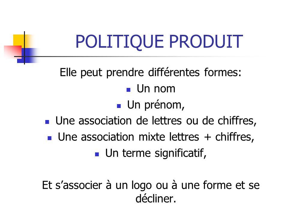 POLITIQUE PRODUIT Elle peut prendre différentes formes: Un nom Un prénom, Une association de lettres ou de chiffres, Une association mixte lettres + c