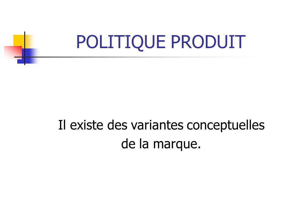 POLITIQUE PRODUIT Il existe des variantes conceptuelles de la marque.