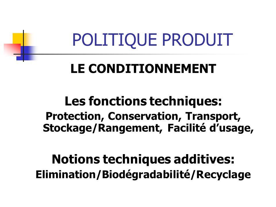 POLITIQUE PRODUIT LE CONDITIONNEMENT Les fonctions techniques: Protection, Conservation, Transport, Stockage/Rangement, Facilité dusage, Notions techn