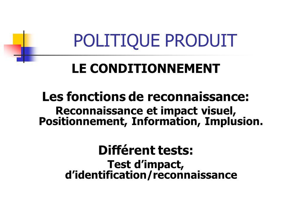 POLITIQUE PRODUIT LE CONDITIONNEMENT Les fonctions de reconnaissance: Reconnaissance et impact visuel, Positionnement, Information, Implusion. Différe