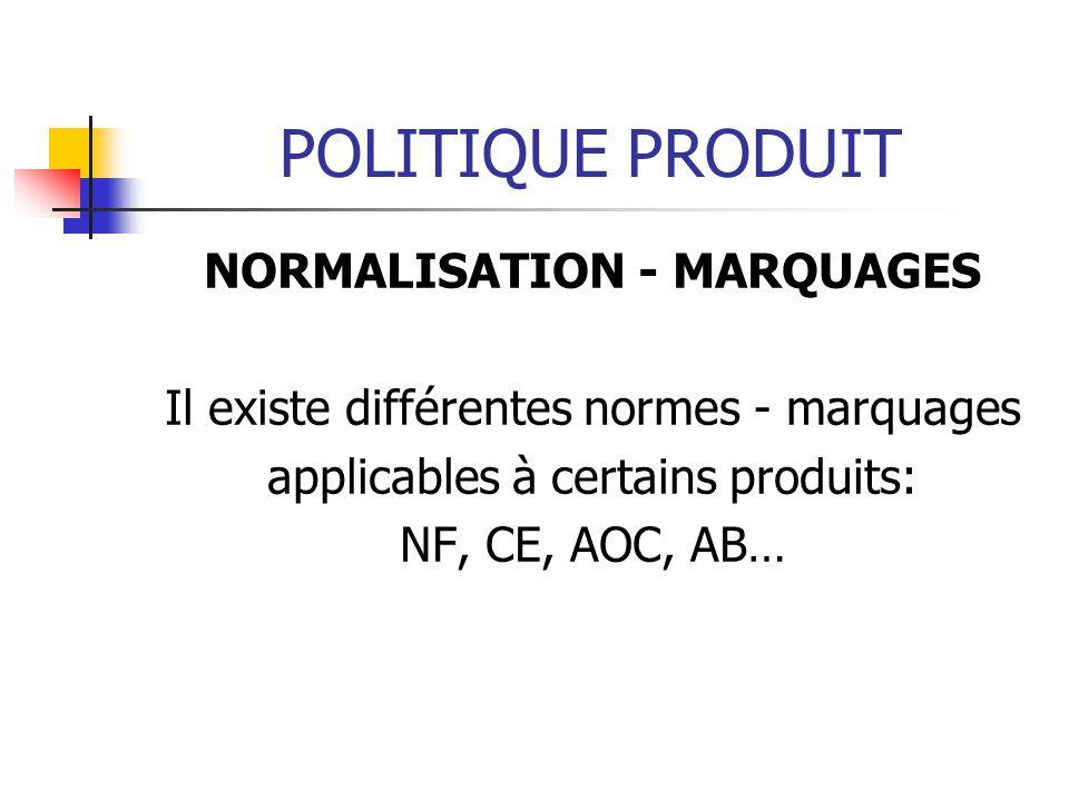 POLITIQUE PRODUIT NORMALISATION - MARQUAGES Il existe différentes normes - marquages applicables à certains produits: NF, CE, AOC, AB…