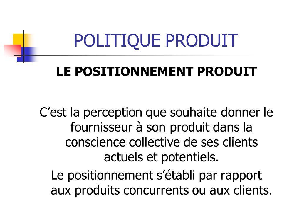 POLITIQUE PRODUIT LE POSITIONNEMENT PRODUIT Cest la perception que souhaite donner le fournisseur à son produit dans la conscience collective de ses c