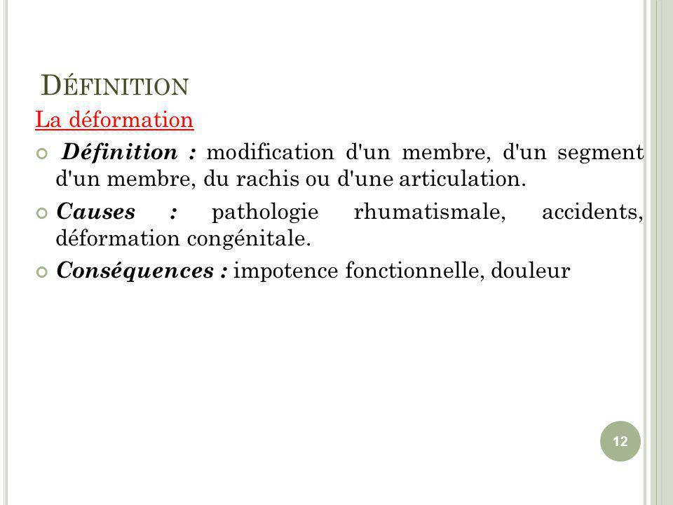 D ÉFINITION La déformation Définition : modification d'un membre, d'un segment d'un membre, du rachis ou d'une articulation. Causes : pathologie rhuma