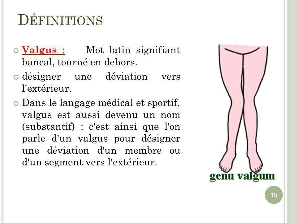 D ÉFINITIONS Valgus : Mot latin signifiant bancal, tourné en dehors. désigner une déviation vers l'extérieur. Dans le langage médical et sportif, valg