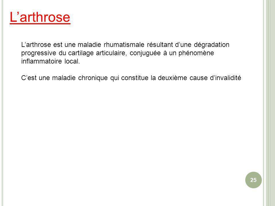 Larthrose 25 Larthrose est une maladie rhumatismale résultant dune dégradation progressive du cartilage articulaire, conjuguée à un phénomène inflamma