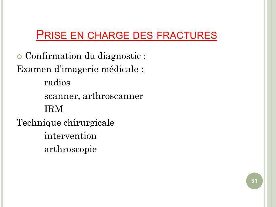 P RISE EN CHARGE DES FRACTURES Confirmation du diagnostic : Examen dimagerie médicale : radios scanner, arthroscanner IRM Technique chirurgicale intervention arthroscopie 31