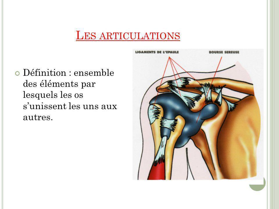 L ES LIGAMENTS Définition : Cest un réseau fibreux, résistant et peu extensible, reliant entre elles deux pièces osseuses, surtout au niveau dune articulation, ou divers organes ou parties du corps.