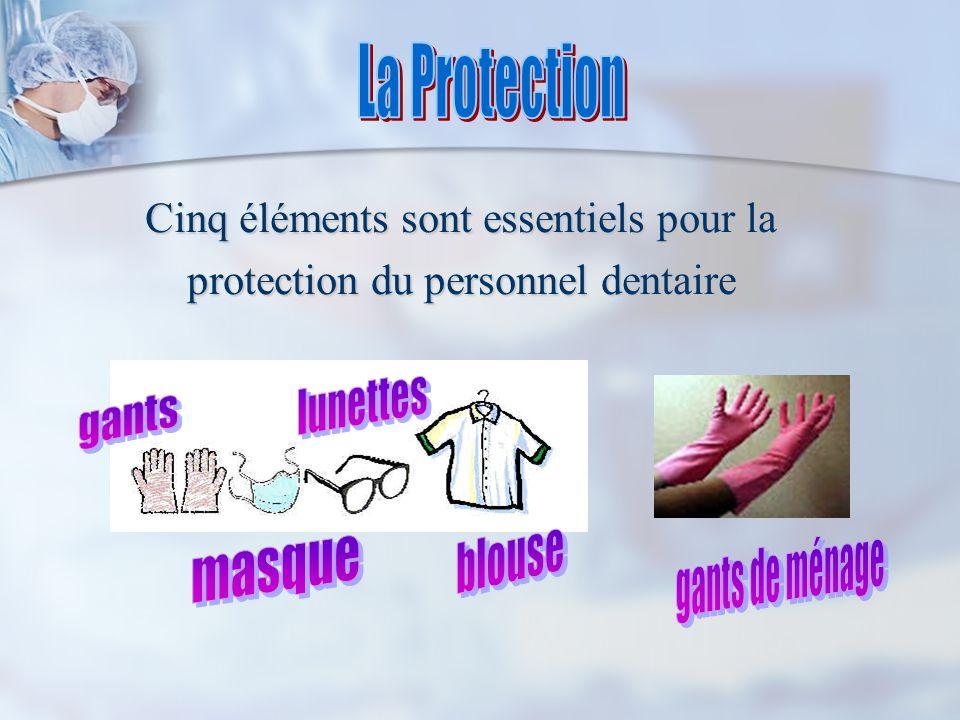 Cinq éléments sont essentiels pour la protection du personnel dentaire