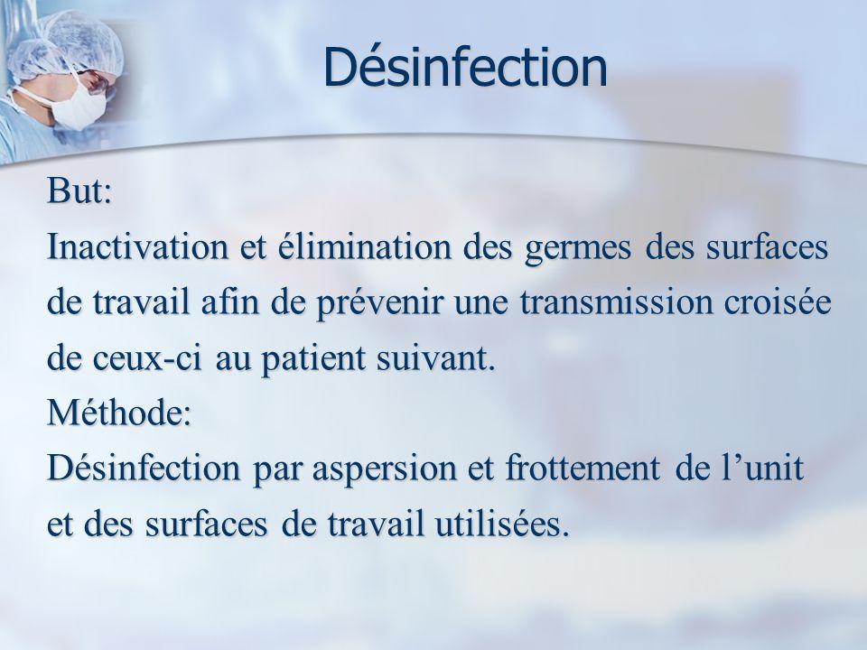 Désinfection But: Inactivation et élimination des germes des surfaces de travail afin de prévenir une transmission croisée de ceux-ci au patient suivant.