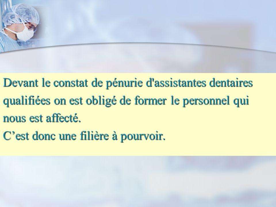 Devant le constat de pénurie d assistantes dentaires qualifiées on est obligé de former le personnel qui nous est affecté.