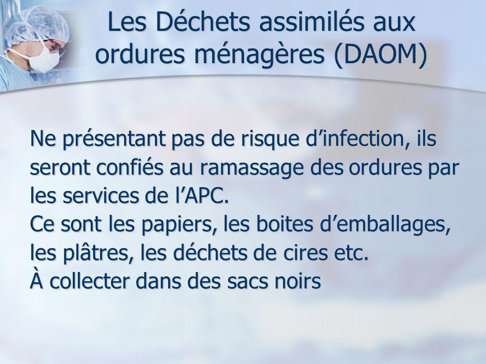 Les Déchets assimilés aux ordures ménagères (DAOM) Ne présentant pas de risque dinfection, ils seront confiés au ramassage des ordures par les services de lAPC.