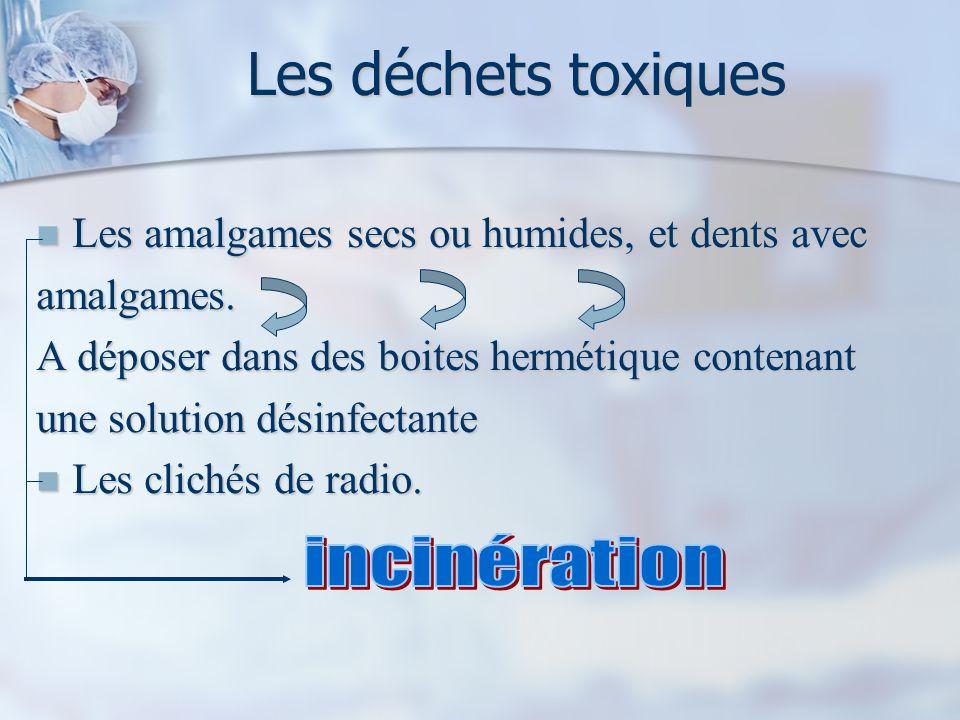 Les déchets toxiques Les amalgames secs ou humides, et dents avec Les amalgames secs ou humides, et dents avecamalgames.