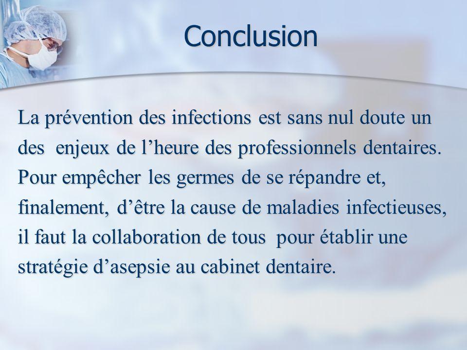 Conclusion La prévention des infections est sans nul doute un des enjeux de lheure des professionnels dentaires.