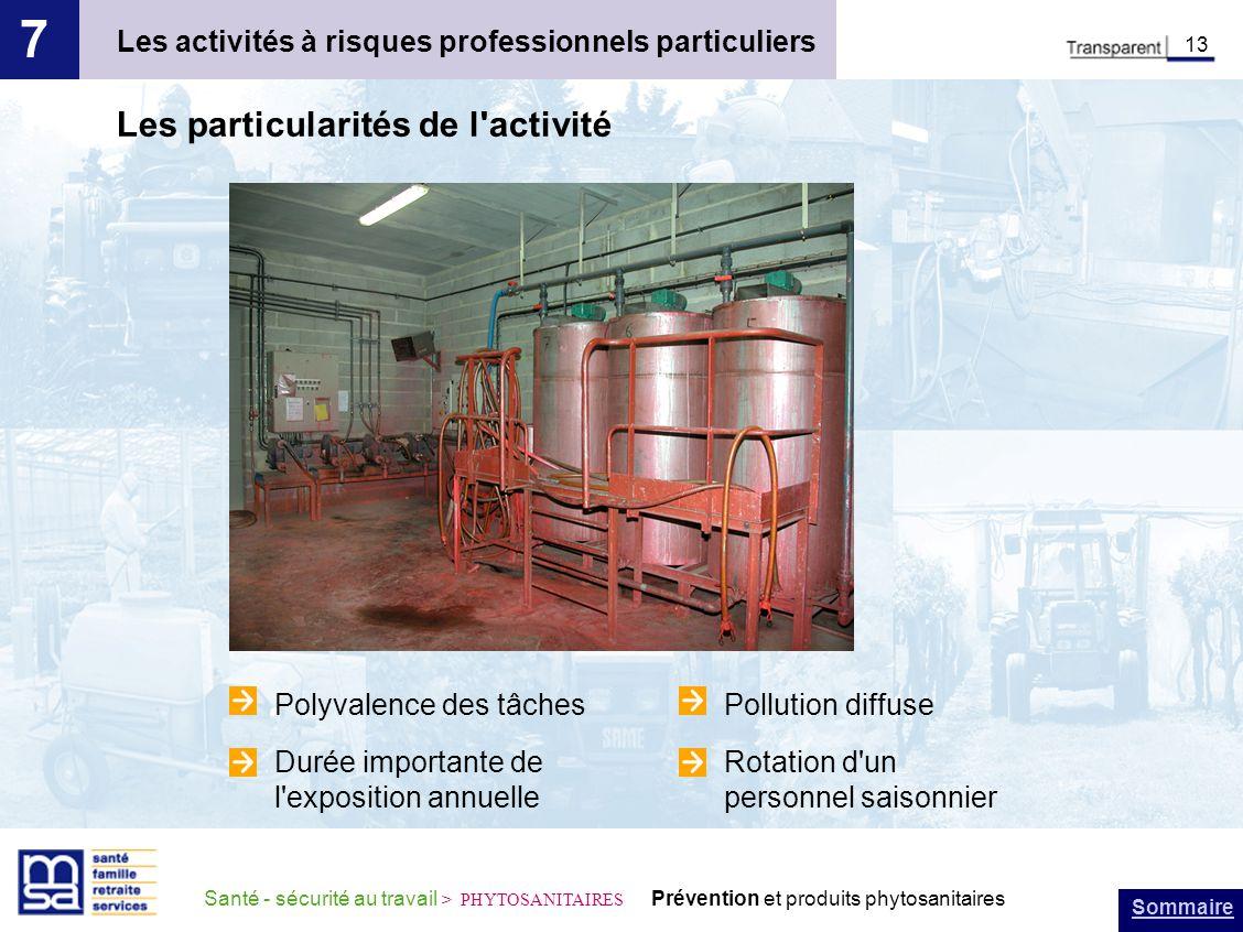Sommaire Santé - sécurité au travail > PHYTOSANITAIRES Prévention et produits phytosanitaires Les activités à risques professionnels particuliers 7 13