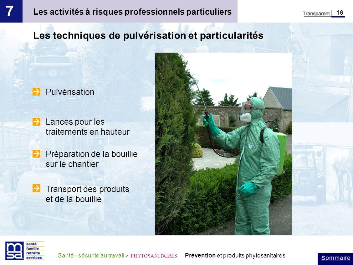 Sommaire Santé - sécurité au travail > PHYTOSANITAIRES Prévention et produits phytosanitaires Les activités à risques professionnels particuliers 7 16