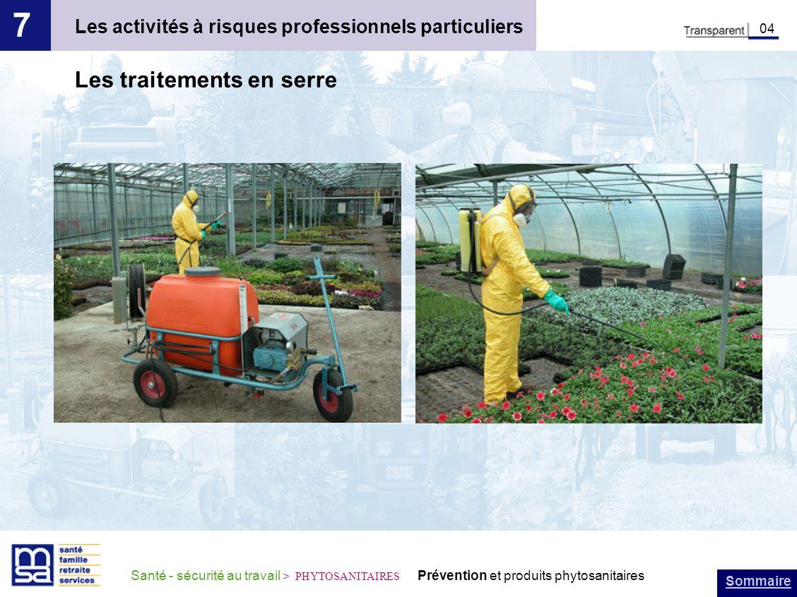 Sommaire Santé - sécurité au travail > PHYTOSANITAIRES Prévention et produits phytosanitaires Les activités à risques professionnels particuliers 7 04 Les traitements en serre