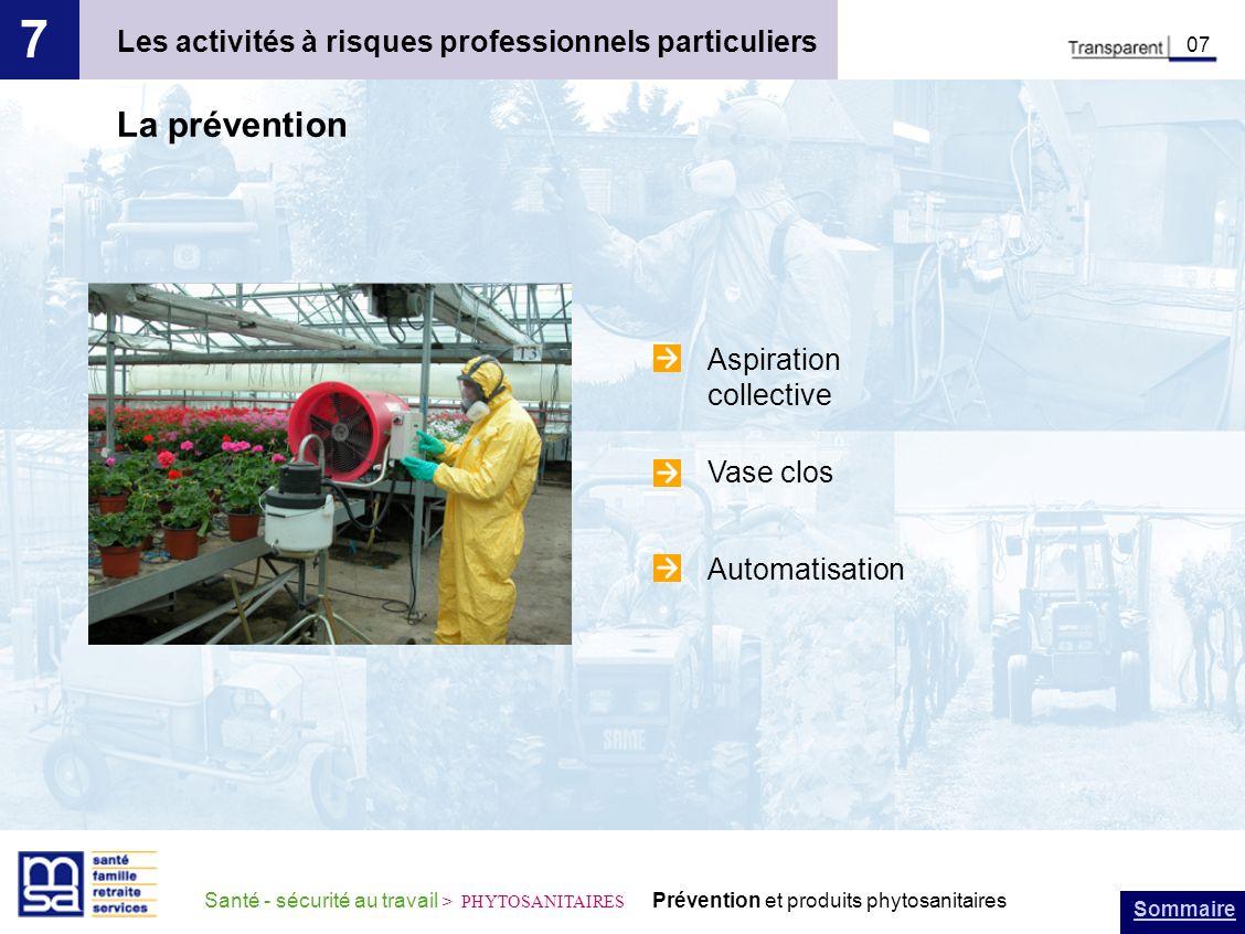 Sommaire Santé - sécurité au travail > PHYTOSANITAIRES Prévention et produits phytosanitaires Les activités à risques professionnels particuliers 7 08 Les traitements en arboriculture