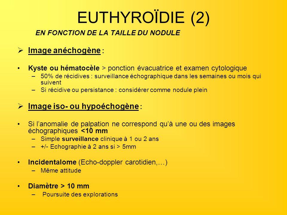 EUTHYROÏDIE (2) EN FONCTION DE LA TAILLE DU NODULE Image anéchogène : Kyste ou hématocèle > ponction évacuatrice et examen cytologique –50% de récidiv