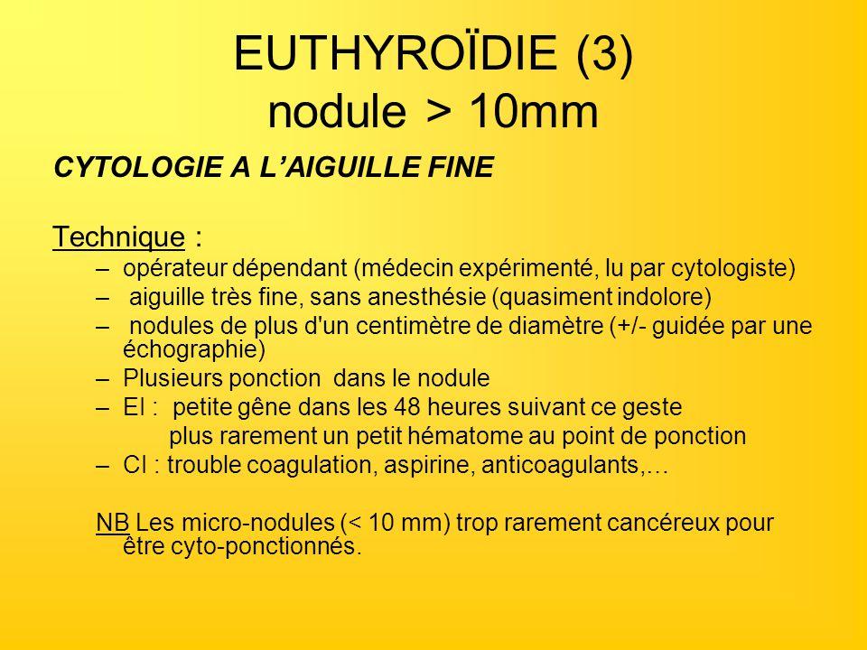 EUTHYROÏDIE (3) nodule > 10mm CYTOLOGIE A LAIGUILLE FINE Technique : –opérateur dépendant (médecin expérimenté, lu par cytologiste) – aiguille très fi