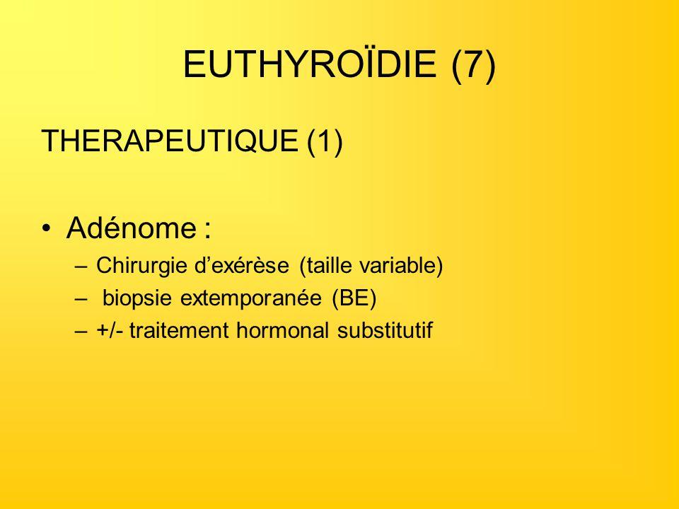 EUTHYROÏDIE (7) THERAPEUTIQUE (1) Adénome : –Chirurgie dexérèse (taille variable) – biopsie extemporanée (BE) –+/- traitement hormonal substitutif
