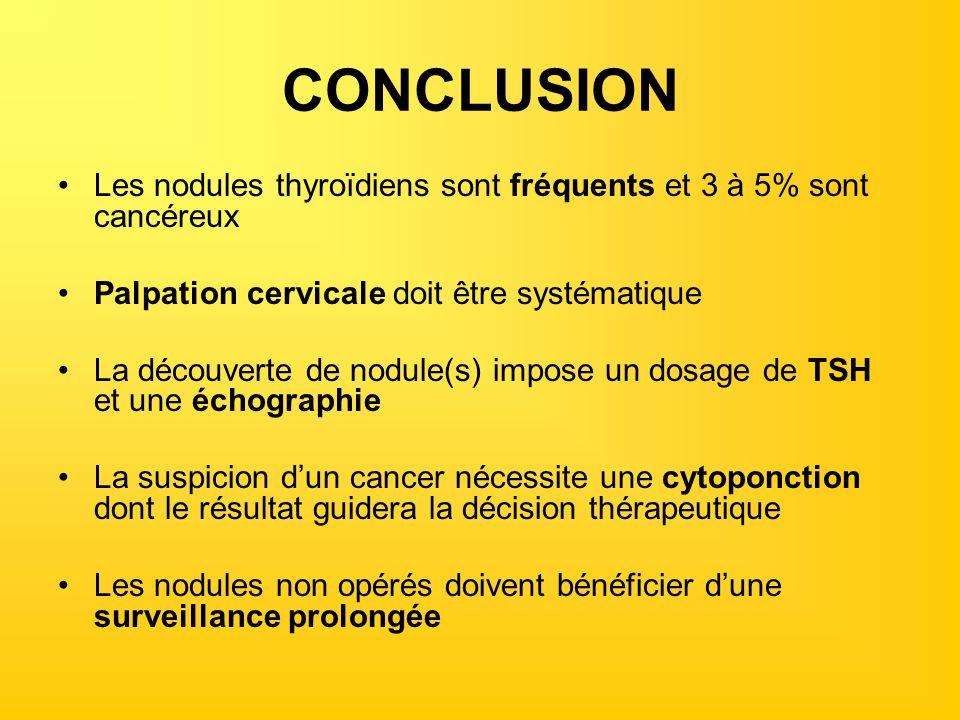 CONCLUSION Les nodules thyroïdiens sont fréquents et 3 à 5% sont cancéreux Palpation cervicale doit être systématique La découverte de nodule(s) impos