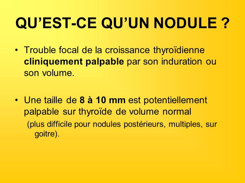 EUTHYROÏDIE (3) nodule > 10mm CYTOLOGIE A LAIGUILLE FINE Technique : –opérateur dépendant (médecin expérimenté, lu par cytologiste) – aiguille très fine, sans anesthésie (quasiment indolore) – nodules de plus d un centimètre de diamètre (+/- guidée par une échographie) –Plusieurs ponction dans le nodule –EI : petite gêne dans les 48 heures suivant ce geste plus rarement un petit hématome au point de ponction –CI : trouble coagulation, aspirine, anticoagulants,… NB Les micro-nodules (< 10 mm) trop rarement cancéreux pour être cyto-ponctionnés.