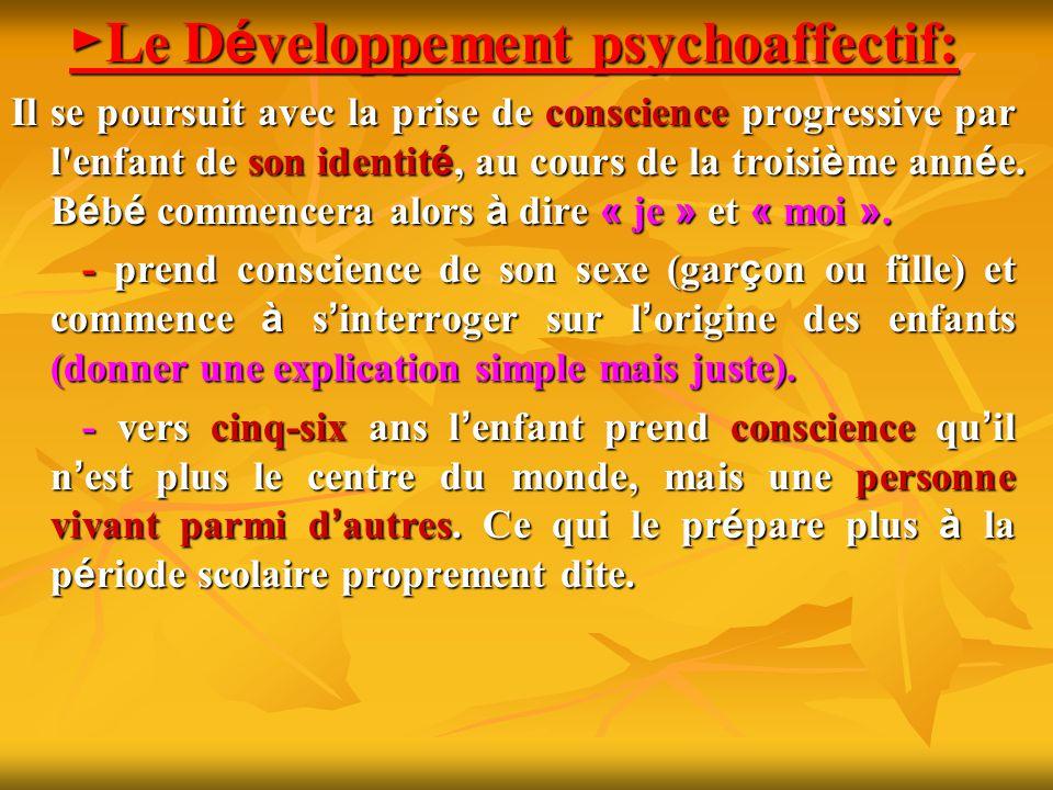 Le D é veloppement psychoaffectif: Le D é veloppement psychoaffectif: Il se poursuit avec la prise de conscience progressive par l'enfant de son ident
