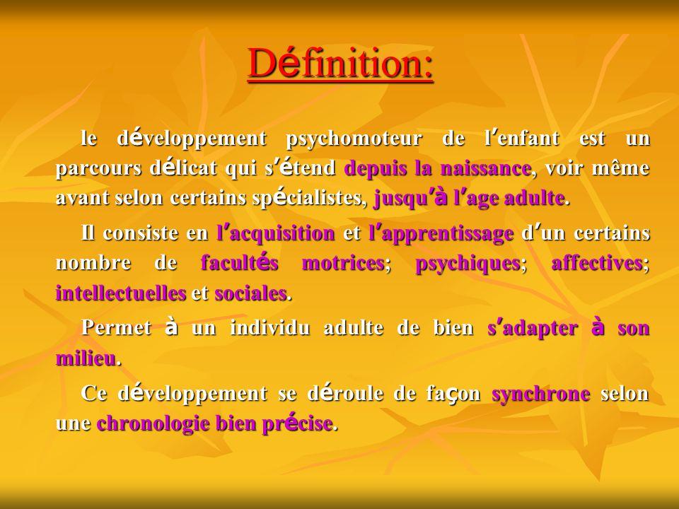 D é finition: le d é veloppement psychomoteur de l enfant est un parcours d é licat qui s é tend depuis la naissance, voir même avant selon certains s