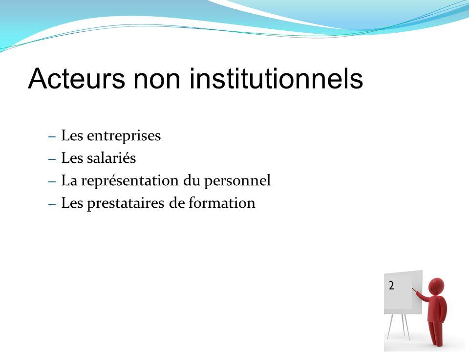 Acteurs non institutionnels – Les entreprises – Les salariés – La représentation du personnel – Les prestataires de formation 2 2