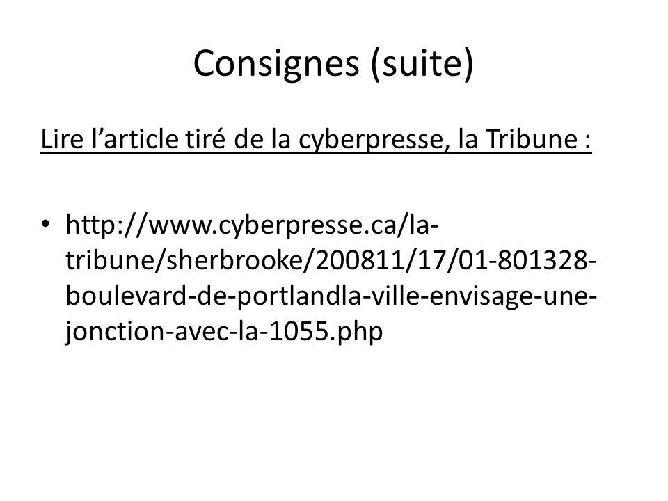 Consignes (suite) Lire larticle tiré de la cyberpresse, la Tribune : http://www.cyberpresse.ca/la- tribune/sherbrooke/200811/17/01-801328- boulevard-d