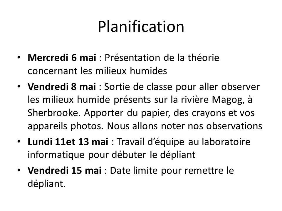Planification Mercredi 6 mai : Présentation de la théorie concernant les milieux humides Vendredi 8 mai : Sortie de classe pour aller observer les milieux humide présents sur la rivière Magog, à Sherbrooke.