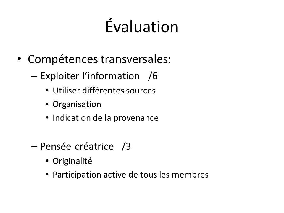 Évaluation Compétences transversales: – Exploiter linformation /6 Utiliser différentes sources Organisation Indication de la provenance – Pensée créat