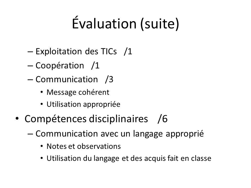 Évaluation (suite) – Exploitation des TICs /1 – Coopération /1 – Communication /3 Message cohérent Utilisation appropriée Compétences disciplinaires /